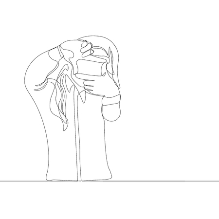 continuous line drawing of woman making photos by hand