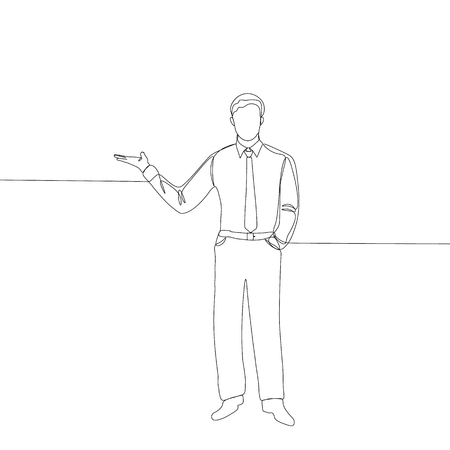Continuous line drawing of businessman illustration. Vectores