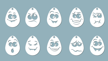 Vector illustration, egg Set, Laser cut paper, icon, pattern, emoticon