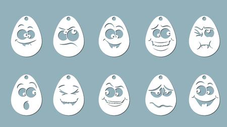 Vector illustration, egg Set, Laser cut paper, icon, pattern, emoticon