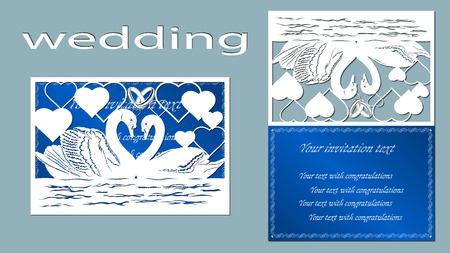 swan. Ring, Card. heart, Wedding rings, vector, illustration. Laser cut. Plotter cutting. Crafts from paper. Sticker. Illustration