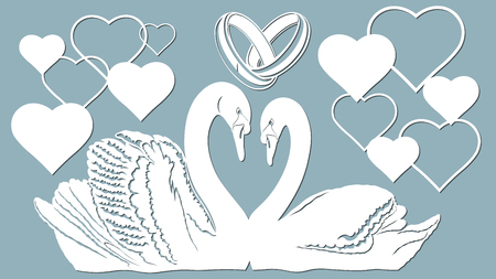 Swan, heart and Wedding rings vector illustration. Plotter cutting. Vectores