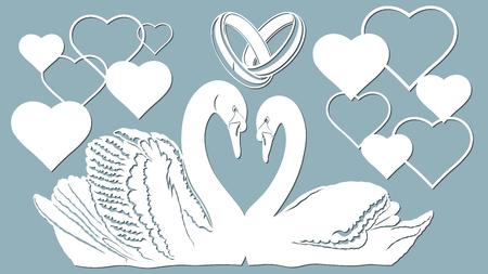 Swan, heart and Wedding rings vector illustration. Plotter cutting. Vettoriali