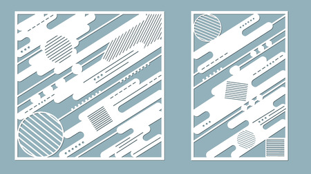A  vector illustration of decorative panel lines, laser cutting wooden panel.