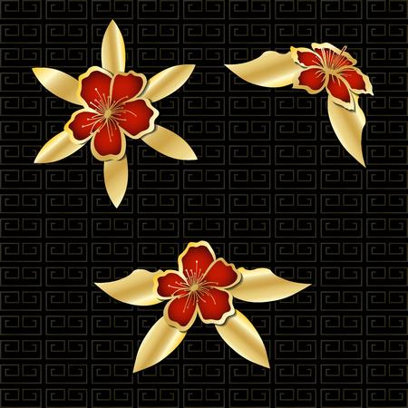 Gold red flowers on dark background. Vector illustration.