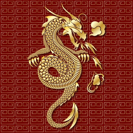 Golden Dragon roaring. vector illustration. Stock Illustratie