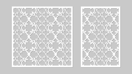 Vector illustration. Abstract forma. Decorative panel lines, laser cutting. wooden panel.