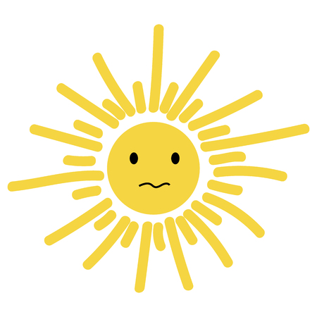 Frowning sun icon, vector illustration