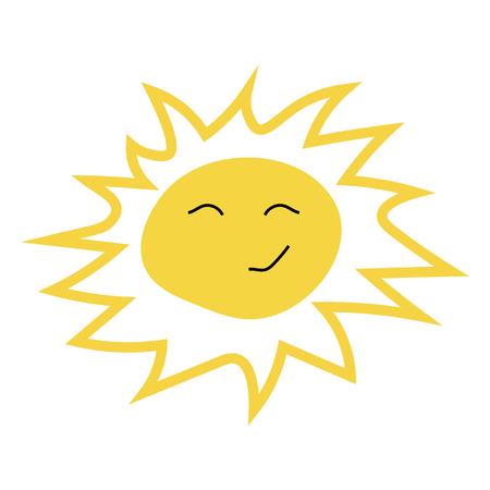Smiling sun icon, vector illustration