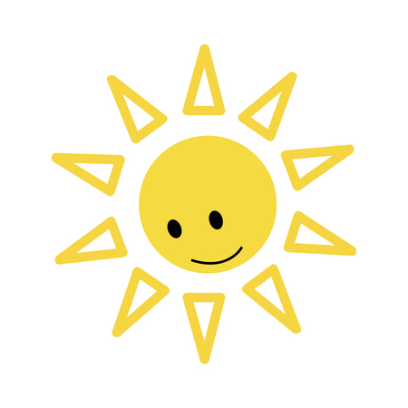 Sun with smiley face looking down icon, vector illustration
