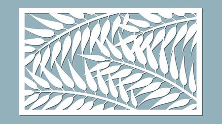 切断用のテンプレート。ヤシの葉のパターン。レーザーカット。ベクターの図。  イラスト・ベクター素材