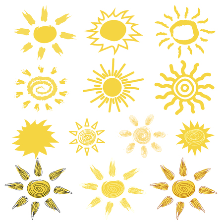 Funny vector doodle suns Hand drawn set isolated on plain background.  イラスト・ベクター素材