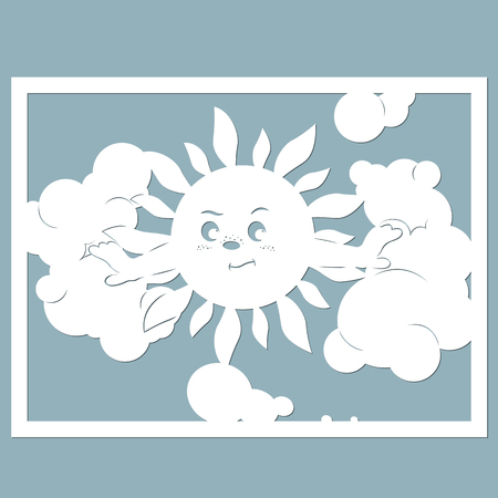 Sun and clouds, paper cut Illustration. Illustration