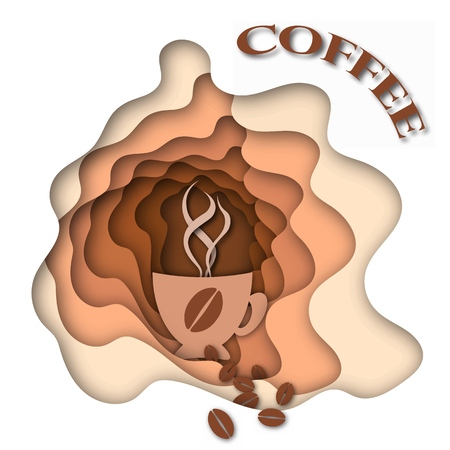 Inscription-coffee. Cup of hot coffee. Abstract brown background with paper curved relief layers. Vector illustration. Paper cutting poster. Applicable for business banner, flyer, poster.