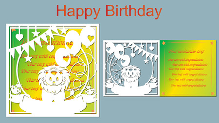 Text - happy birthday. vector, laser-beam cutting. Depicted lion, beetle, heart, star, flag, balloon. Greeting card. plotter