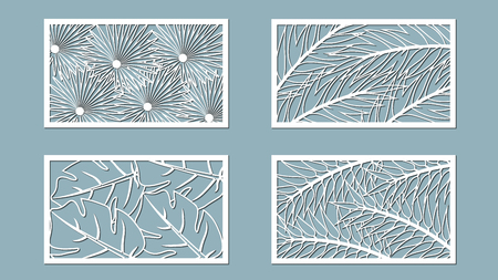 Set template for cutting. Palm leaves pattern. Laser cut. Vector illustration.