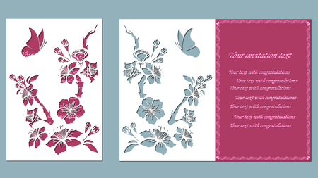 Blossom cherry branch. Sakura. Graphic vector decorative elements. Template suitable for laser cutting. butterfly Иллюстрация