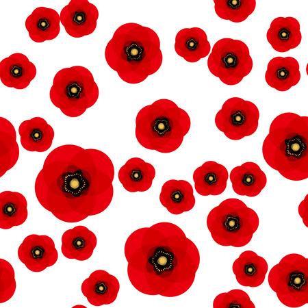 Mohn nahtloses Muster. Rote Mohnblumen auf weißem Hintergrund. Kann für Textilien, Tapeten, Drucke und Webdesign verwendet werden. Vektorillustration