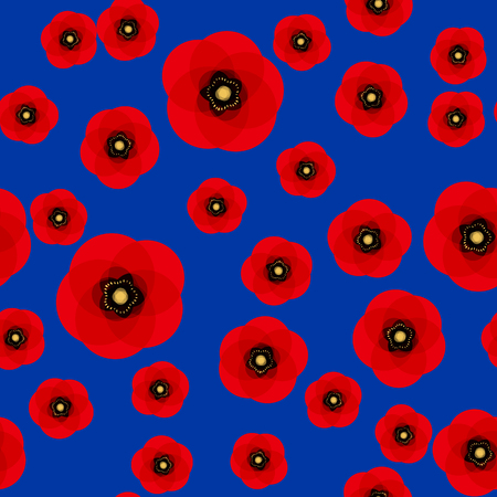 Poppy seamless pattern. Red poppies on blue background. Can be uset for textile, wallpapers, prints and web design. Vector illustration