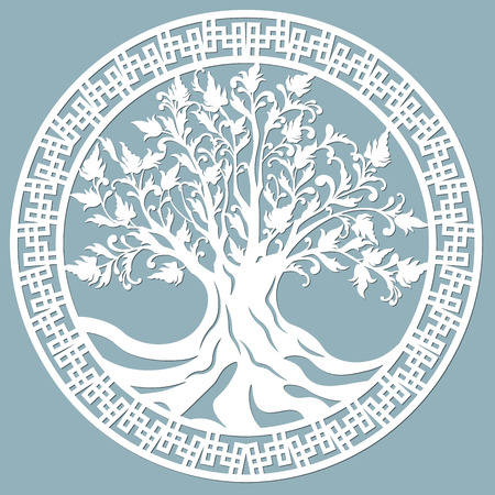 Laser cut, openwork christmas decoration, vector design. Laser cutting template tree. paper cutting. ball with lace pattern.