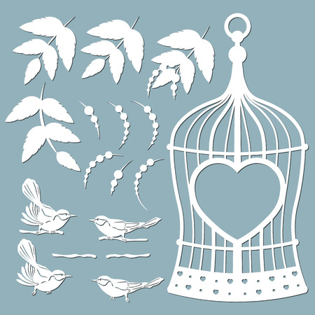 template, set for laser and plotter cutting. Birds, leaves, cage. nightingale