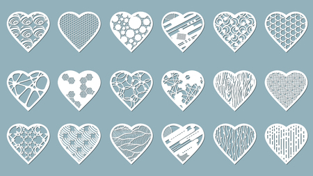 Set stencil hearts with carved pattern. Template for interior design, layouts wedding cards, invitations, etc. Image suitable for laser cutting, plotter cutting or printing.