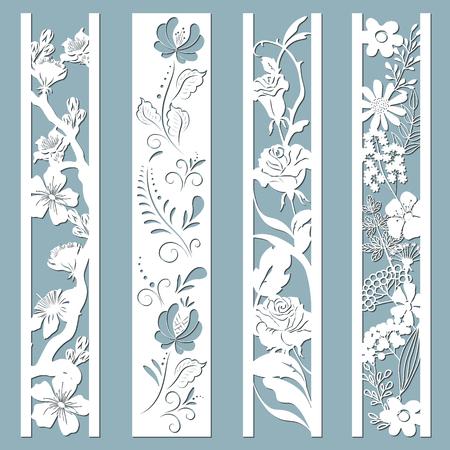 Gestanzte und lasergeschnittene Ziertafeln mit Blumenmuster. Gzhel, Gänseblümchen, Hibiskus, Rosen, Blüten und Blätter. Lasergeschnittene dekorative Spitzenrandmuster. Satz von Lesezeichenvorlagen. Vektorgrafik