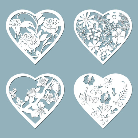 Set stencil hearts with flower, rose. Template for interior design, invitations, etc. Image suitable for laser cutting, plotter cutting or printing. Çizim