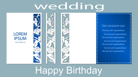 The inscription-happy birthday, wedding. Rose. Card floral border and space for text. Laser cutting template for greeting cards, invitations, decorative elements. Vector Illustration