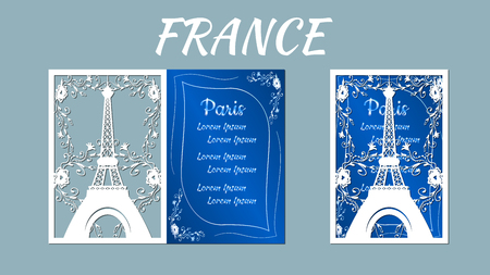 Vector illustration postcard. Invitation and greeting card with Eiffel tower. Pattern for the laser cut. plotter cutting. Stock Illustratie