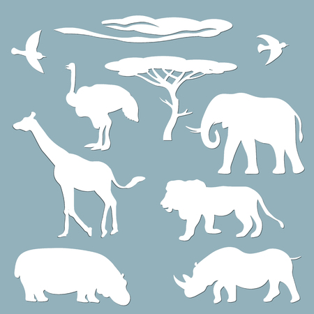 Set template for laser cutting and Plotter. Vector illustration. Animal sticker set - cloud, bird, tree, Hippo, ostrich, giraffe, lion, Rhino