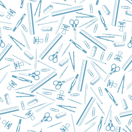 Seamless background. Pattern. School supplies. Paints, brushes, pencils, pen, stroke, scissors, compass, eraser, paper clips, ruler, Illustration