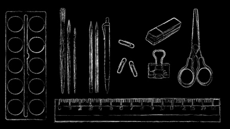 stationery, art materials, scissors, ruler, pencil, grater, paper clip, brushes and tubes of paint. vector illustration of painted with chalk. Illusztráció