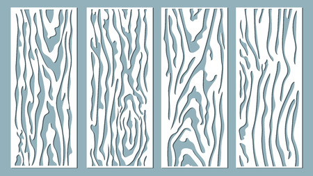 Vector illustration. Decorative panel lines, laser cutting. cut wooden panel.