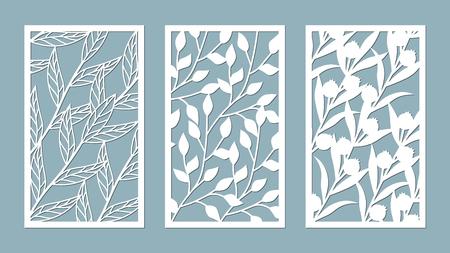 Establecer plantilla para cortar. patrón de hojas. Corte con laser. Para plotter. Ilustración vectorial.