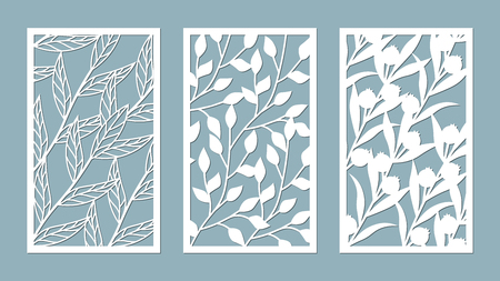 Set template for cutting. leaves pattern. Laser cut. For plotter. Vector illustration. 免版税图像 - 112198891