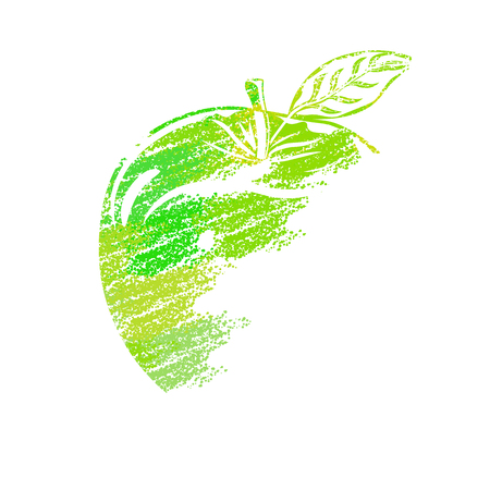 Green Apple painted with dots on white background. Floor of fruit, stylized in the style of paint. Illustration
