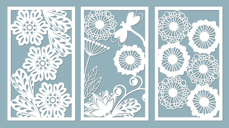 Set stencil frames with leaves, dragonfly, berry and flowers. Template for interior design, invitations, etc. Image suitable for laser cutting, plotter cutting or printing.