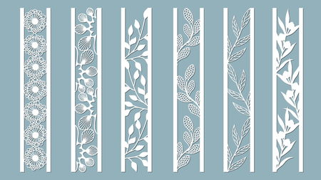 Ornamental panels with floral pattern. Flowers and leaves. Laser cut decorative lace borders patterns. Set of bookmarks templates. Image suitable for laser cutting, plotter cutting or printing. Vettoriali