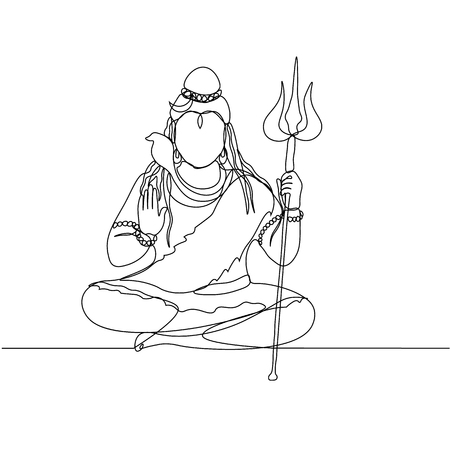 continuous line drawing. Shiva. Silhouette. God.