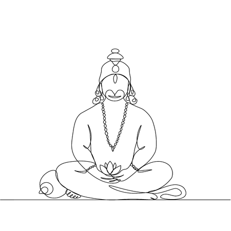 dessin au trait continu vectoriel. Hanuman en position Lotus.
