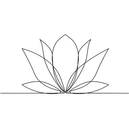 Lotus flower line art. Minimalist contour drawing. One line artwork Vector Illustration