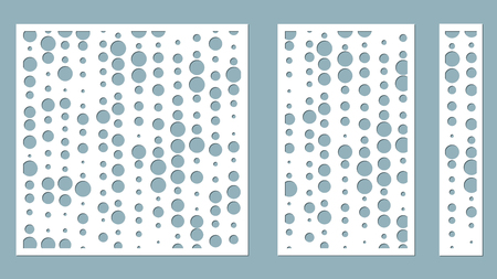 Vector illustration. Decorative panel lines, circles, balls, laser cutting. cut wooden panel.