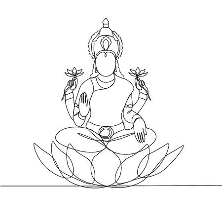continuous line drawing. Lakshmi. Silhouette. God. Illustration