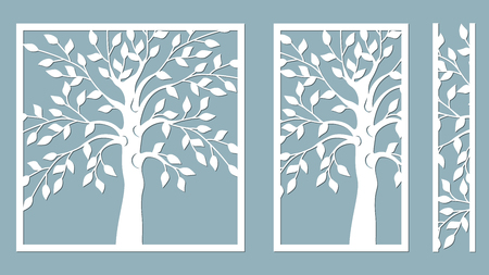 Laser cut. vector design. Laser cutting template tree. paper cutting. plotter and screen printing. serigraphy