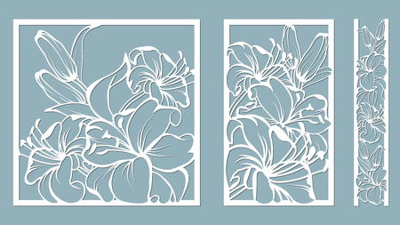 template for laser cutting and Plotter. Flowers, leaves, bouquet for decoration. Vector illustration. lily. plotter and screen printing. serigraphy. Stock Illustratie