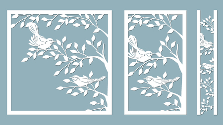 branch birches. Linden. Bird on the cherry branch. Graphic vector decorative elements. Template suitable for laser cutting. Template for plotter and screen printing. serigraphy. Stock Illustratie