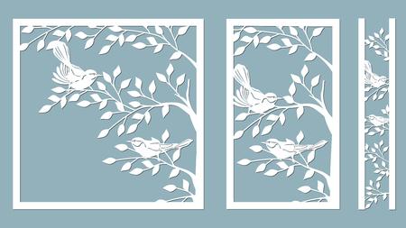 abedules de rama. Tilo. Pájaro en la rama de cerezo. Elementos decorativos vectoriales gráficos. Plantilla apta para corte por láser. Plantilla para plotter y serigrafía. serigrafía. Ilustración de vector