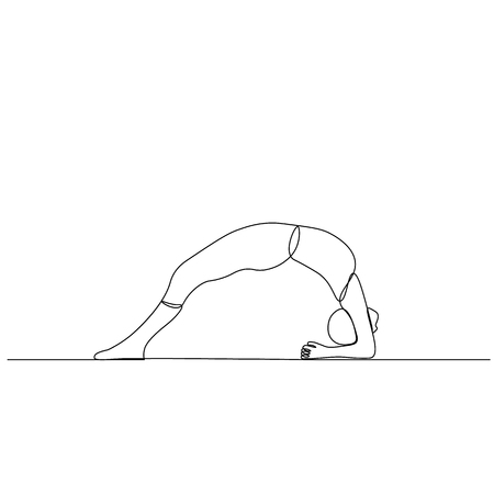 vector drawn line, a yogi in position the bridge. On white background