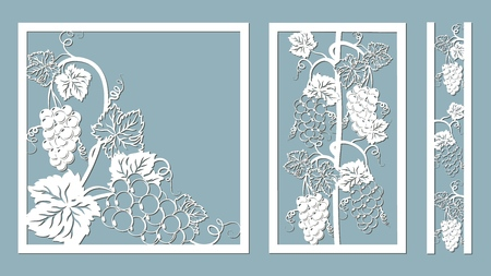 Template for laser cutting, plotter, and silkscreen printing. Vine Grape